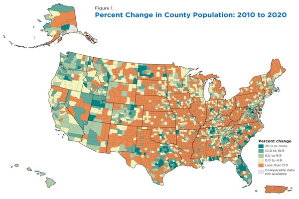 Percent Change in County Population 2010 to 2020