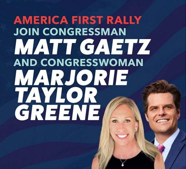 Ad for 'America First Rally' with Marjorie Taylor Greene and Matt Gaetz