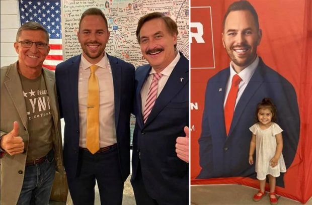 Left: Lahmeyer, center, with Q conspiracists  disgraced Gen. Mike Flynn, left, and pillow grifter Mike Lyndell; right: Lahmeyer's daughter in red shoes
