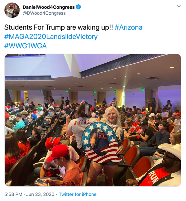 A capture from the Twitter feed of a Q fascist candidate for Congress