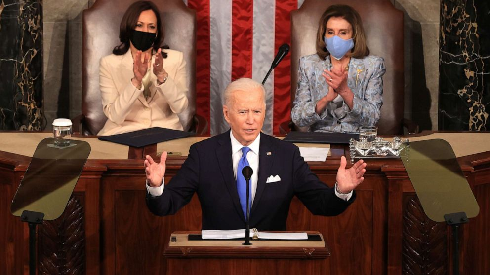 Pres. Biden addresses Congress on April 28, 2021 - the first president to be flanked by women as the second and third highest ranking government officials, Vice Pres. Kamala Harris and Speaker Nancy Pelosi